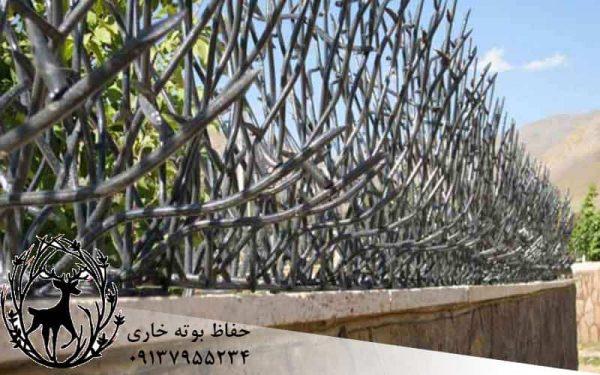 حفاظ و نرده ی روی دیوار بوته ای خاری در بروجن ، اصفهان و شهر کرد